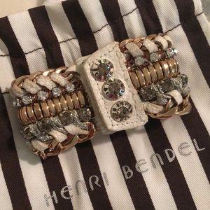 Hendri Bendel silver, gold, and white bracelet